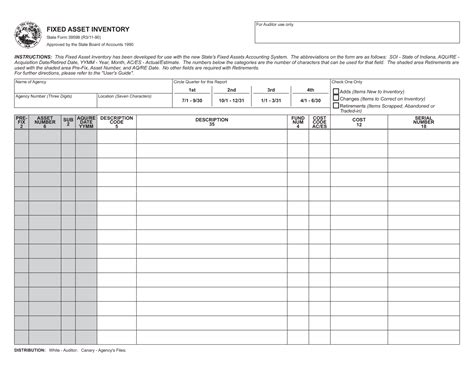 sle template and form for fixed asset and inventory