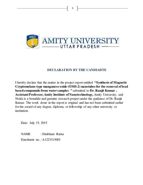 Amity Mba Project Synopsis by Ntcc Report Report Shubham