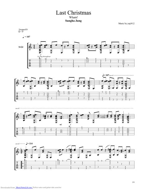 fingerstyle guitar tutorial sungha jung last christmas guitar pro tab by sungha jung