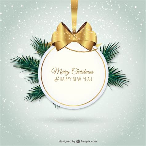elegant merry christmas label vector free download