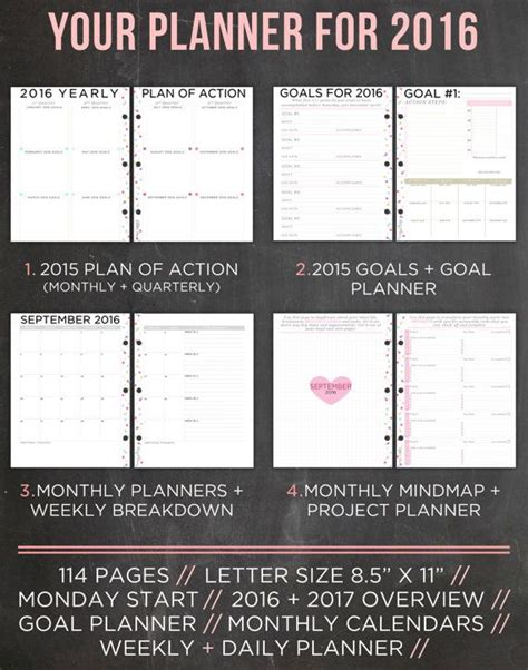 life organizer planner printable 2016 planner 2016 organizer letter size by easypeasypaper