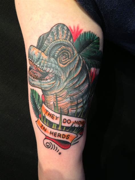 read street tattoo jurassic park tribute by kyle oxford read