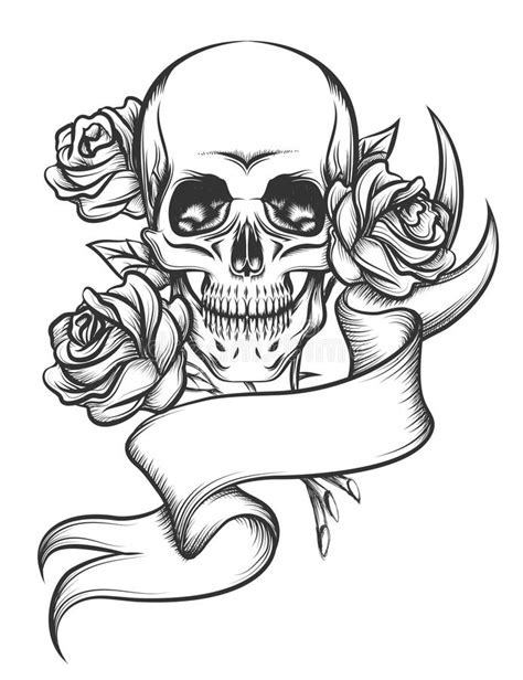 skull and roses with ribbon stock vector illustration of
