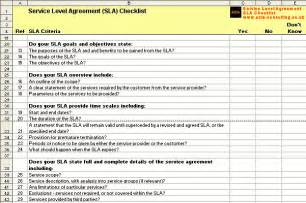 Hr Service Level Agreement Template by Service Level Agreement Checklist