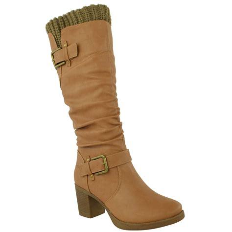 womens block mid high heel boots calf knee