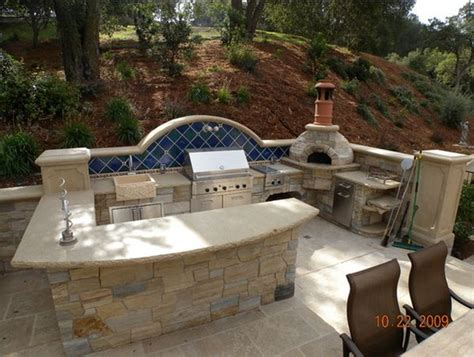 backyard kitchen plans outdoor kitchen designs featuring pizza ovens fireplaces