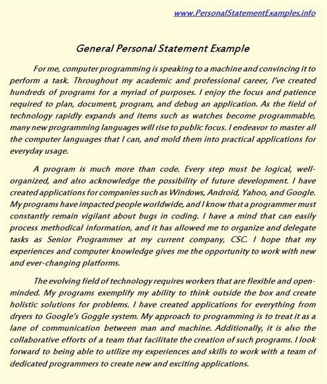 pin by personal statement sle on personal statement
