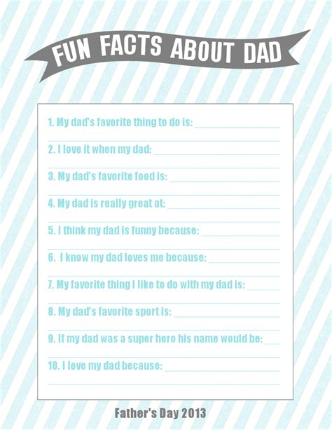 printable dad questionnaire fathers day card for kids printable rachael edwards