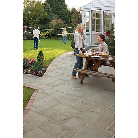Travis Perkins Patio Slabs by Marshalls Coach House Riven Pennant Grey Paving Patio Pack