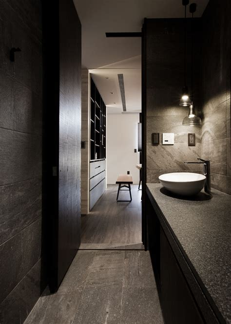 dark bathroom asian interior design trends in two modern homes with