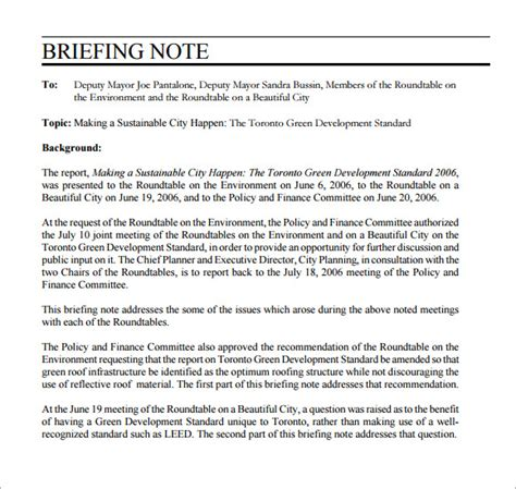 ministerial briefing template sle briefing note 5 documents in pdf word
