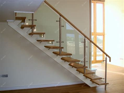 Banisters And Handrails Installation Indoor Stair Design With Wood Tread And Glass Railing