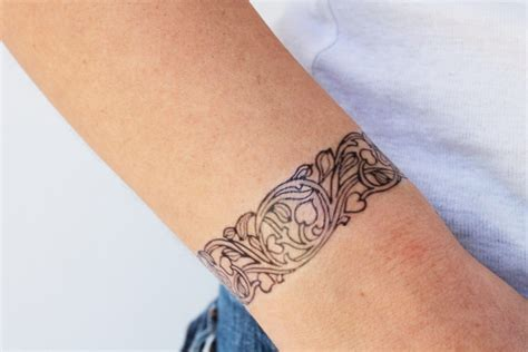 2 bracelet temporary tattoos art nouveau tattoo flowers