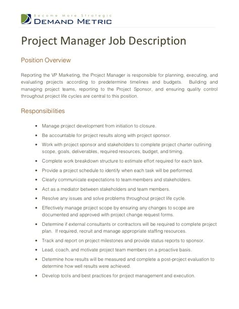 Project Manager Job Description Manager Description Template