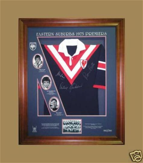 stock roosters  premiership signed framed jersey pro sports memorabilia