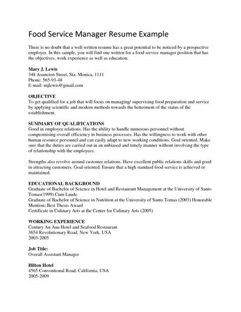 6 food service manager resume sle resume food service