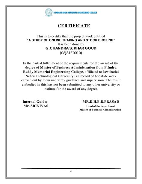 volunteer award certificate template 33059297 a project report on online trading stock brokers