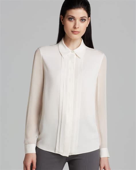 blouse armina top armani blouse sheer sleeve in white lyst