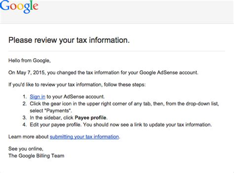 adsense tax google adsense google tax change email sent in error notice