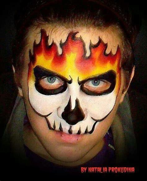 spray paint ghost rider maquillaje de fantasia calavera y fuego maquillaje de