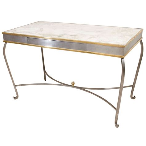 Steel Top Desk by Stainless Steel And Brass Cabriole Desk With Marble Top At