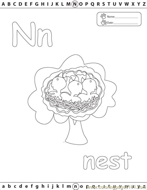 N For Nest Coloring Page by N Nest Edu Coloring Page Free Alphabets Coloring Pages