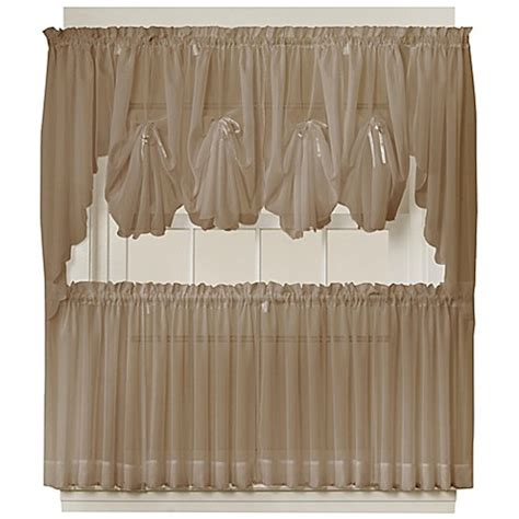 Sheer Tier Curtains Emelia Sheer Window Curtain Tier Pair In Taupe Bed Bath Beyond