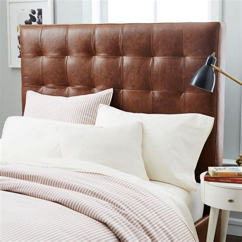 Leather King Headboard Tufted Leather Headboard King Leather Grid Tufted Headboard West Elm Bedroom Iemg Info