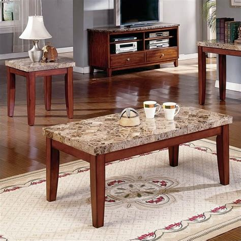 Marble End Table Set by Steve Silver Company Montibello 3 Marble Coffee Table Set In Cherry Mn700c Pkg