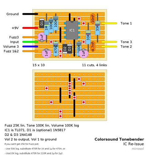 re layout guitar fx layouts colorsound tonebender re issue