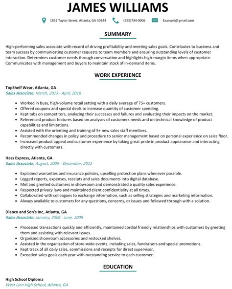 Sales Associate Resume Objective by Sales Associate Resume Sle Resumelift