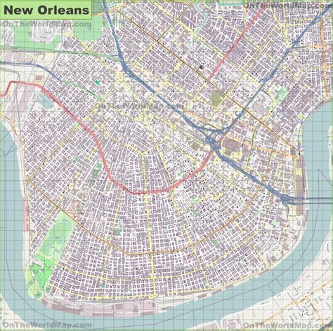 new orleans on map large detailed map of new orleans