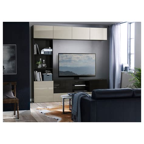 ikea besta furniture best 197 tv storage combination glass doors black brown
