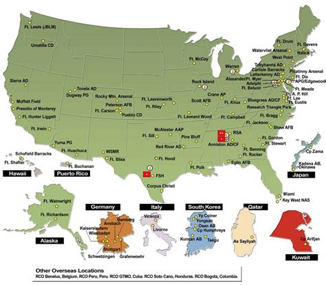 map of the united states military bases army contracting command about