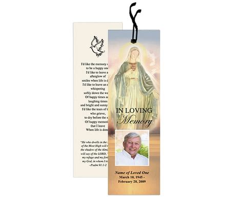 6 best images of printable memorial bookmarks free