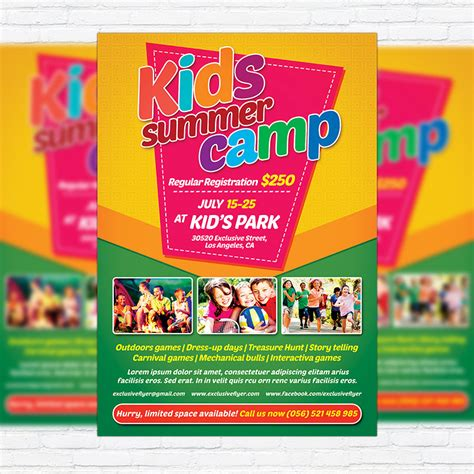 kids summer c premium flyer template facebook cover