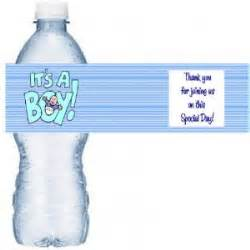 blue baby water bottle labels baby shower favors 50