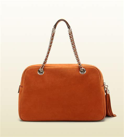 Gucci Ns Leather Orange gucci soho nubuck leather chain shoulder bag in orange lyst