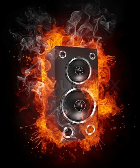 loudspeaker in fire isolated on black background 2d