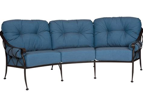 woodard derby wrought iron crescent sofa with cushions