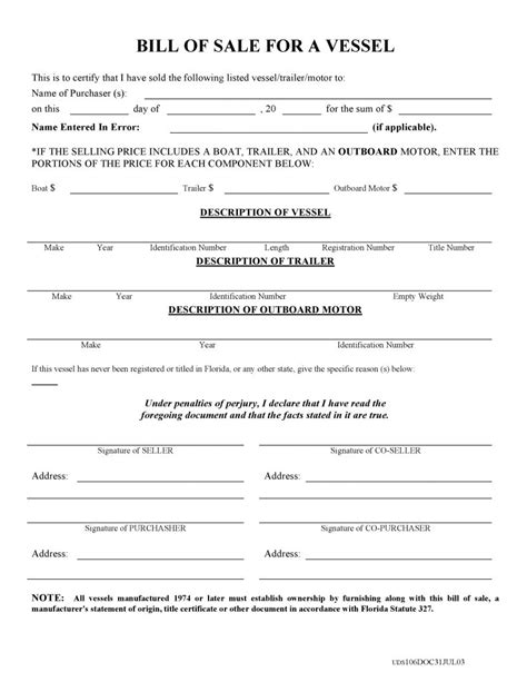 Free Florida Boat Bill Of Sale Form Pdf Docx Florida Motor Vehicle Bill Of Sale Template