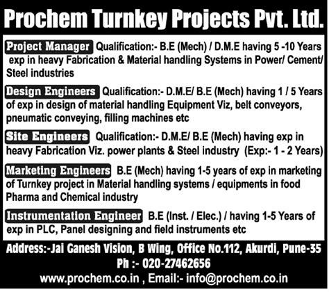 design engineer opening in pune jobs in prochem turnkey projects pvt ltd vacancies in