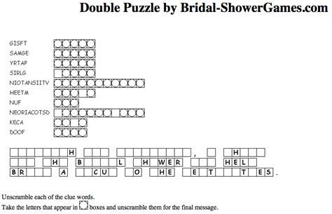 free printable bridal shower crossword puzzle free printable bridal shower games