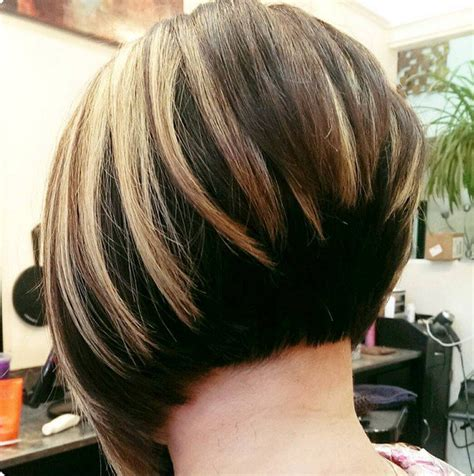 sexy bob haircut with chunky red highlites 30 stacked bob haircuts for sophisticated short haired women