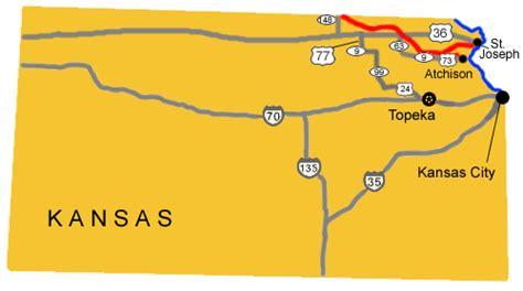 map of oregon trail through kansas auto tour route kansas pony express national historic
