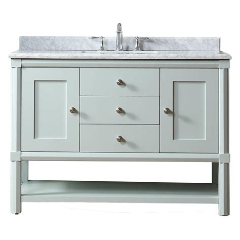 Martha Stewart Bathroom Furniture Martha Stewart Living Sutton 48 In W X 22 In D Vanity In Rainwater With Marble Vanity Top In
