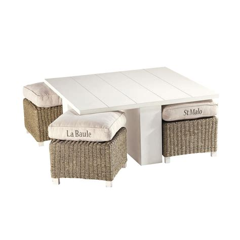 Wooden Square Coffee Table With Four Stools by Wooden Coffee Table 4 Stools In White W 95cm Freeport