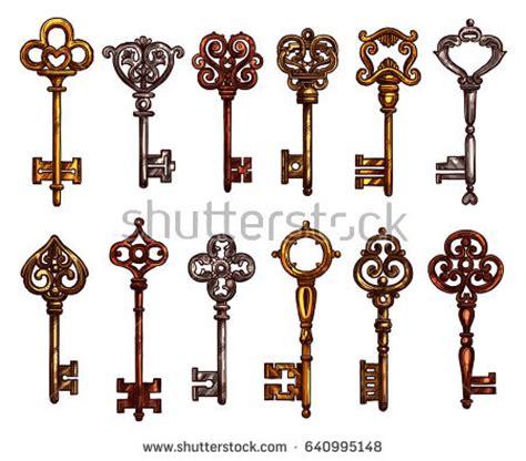design is key key vintage skeleton key isolated sketch stock vector