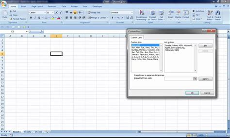 tutorial to excel 2007 excel 2007 how to create custom list