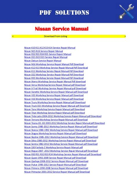 small engine repair manuals free download 1997 nissan pathfinder engine control nissan workshop service repair manual pdf download